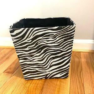 Zebra Chic Black White Decor Trash Box